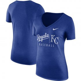Wholesale Cheap Kansas City Royals Nike Women\'s Tri-Blend Practice T-Shirt Royal