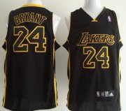 Wholesale Cheap Los Angeles Lakers #24 Kobe Bryant All Black With Yellow Swingman Jersey