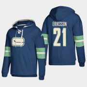 Wholesale Cheap Vancouver Canucks #21 Loui Eriksson Blue adidas Lace-Up Pullover Hoodie