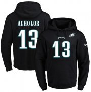 Wholesale Cheap Nike Eagles #13 Nelson Agholor Black Name & Number Pullover NFL Hoodie