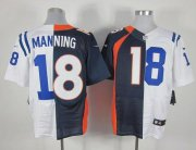 Wholesale Cheap Nike Broncos #18 Peyton Manning Navy Blue/White Men's Stitched NFL Elite Split Colts Jersey