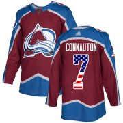 Wholesale Cheap Adidas Avalanche #7 Kevin Connauton Burgundy Home Authentic USA Flag Stitched NHL Jersey