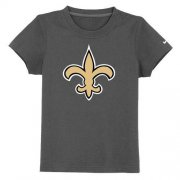 Wholesale Cheap New Orleans Saints Authentic Logo Youth T-Shirt Dark Grey