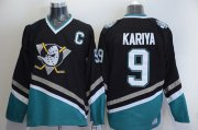 Wholesale Cheap Ducks #9 Paul Kariya Black CCM Throwback Stitched NHL Jersey