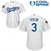 Wholesale Cheap Dodgers #3 Chris Taylor White Cool Base 2018 World Series Stitched Youth MLB Jersey