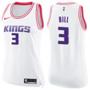 Wholesale Cheap Women's Sacramento Kings #3 George Hill White Pink NBA Swingman Fashion Jersey