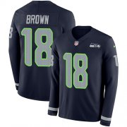 Wholesale Cheap Nike Seahawks #18 Jaron Brown Steel Blue Team Color Men's Stitched NFL Limited Therma Long Sleeve Jersey