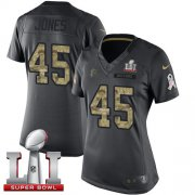 Wholesale Cheap Nike Falcons #45 Deion Jones Black Super Bowl LI 51 Women's Stitched NFL Limited 2016 Salute to Service Jersey