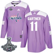 Wholesale Cheap Adidas Capitals #11 Mike Gartner Purple Authentic Fights Cancer Stanley Cup Final Champions Stitched NHL Jersey