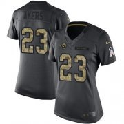 Wholesale Cheap Nike Rams #23 Cam Akers Black Women's Stitched NFL Limited 2016 Salute to Service Jersey