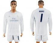 Wholesale Cheap Real Madrid #1 Navas Marine Environmental Protection Home Long Sleeves Soccer Club Jersey