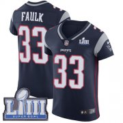 Wholesale Cheap Nike Patriots #33 Kevin Faulk Navy Blue Team Color Super Bowl LIII Bound Men's Stitched NFL Vapor Untouchable Elite Jersey