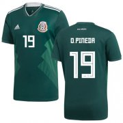 Wholesale Cheap Mexico #19 O.Pineda Green Home Soccer Country Jersey