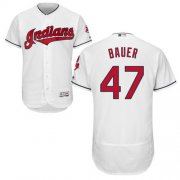 Wholesale Cheap Indians #47 Trevor Bauer White Flexbase Authentic Collection Stitched MLB Jersey