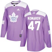 Wholesale Cheap Adidas Maple Leafs #47 Leo Komarov Purple Authentic Fights Cancer Stitched NHL Jersey