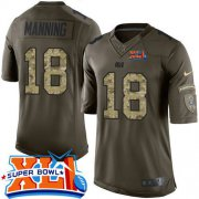 Wholesale Cheap Nike Colts #18 Peyton Manning Green Super Bowl XLI Youth Stitched NFL Limited Salute to Service Jersey
