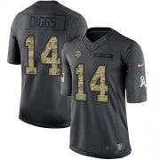 Wholesale Cheap Nike Vikings #14 Stefon Diggs Black Youth Stitched NFL Limited 2016 Salute To Service Jersey