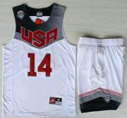 Wholesale Cheap 2014 USA Dream Team #14 Anthony Davis White Basketball Jersey Suits
