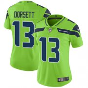 Wholesale Cheap Nike Seahawks #13 Phillip Dorsett Green Women's Stitched NFL Limited Rush Jersey