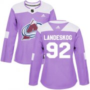 Wholesale Cheap Adidas Avalanche #92 Gabriel Landeskog Purple Authentic Fights Cancer Women's Stitched NHL Jersey
