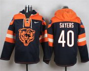 Wholesale Cheap Nike Bears #40 Gale Sayers Navy Blue Player Pullover NFL Hoodie
