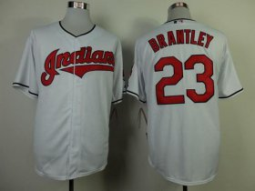 Wholesale Cheap Indians #23 Michael Brantley White Cool Base Stitched MLB Jersey