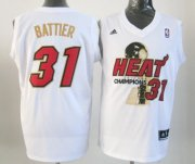 Wholesale Cheap Miami Heat #31 Shane Battier 2012 NBA Finals Champions White With Red Jersey