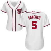 Wholesale Cheap Nationals #5 Adrian Sanchez White Women's Home Cool Base Stitched MLB Jersey