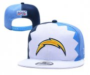 Wholesale Cheap Chargers Team Logo White Navy Blue 2019 Draft 100th Season Adjustable Hat YD