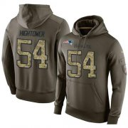 Wholesale Cheap NFL Men's Nike New England Patriots #54 Dont'a Hightower Stitched Green Olive Salute To Service KO Performance Hoodie