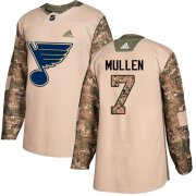 Wholesale Cheap Adidas Blues #7 Joe Mullen Camo Authentic 2017 Veterans Day Stitched NHL Jersey