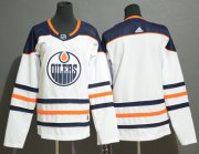Wholesale Cheap Adidas Oilers Blank White Road Authentic Stitched Youth NHL Jersey