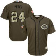 Wholesale Cheap Reds #24 Tony Perez Green Salute to Service Stitched MLB Jersey
