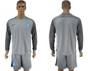 Wholesale Cheap Greece Blank Grey Goalkeeper Long Sleeves Soccer Country Jersey