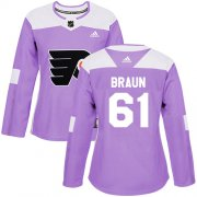 Wholesale Cheap Adidas Flyers #61 Justin Braun Purple Authentic Fights Cancer Women's Stitched NHL Jersey
