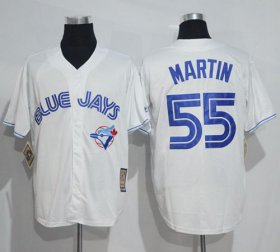 Wholesale Cheap Blue Jays #55 Russell Martin White Cooperstown Throwback Stitched MLB Jersey