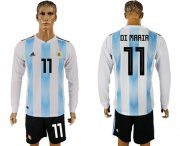 Wholesale Cheap Argentina #11 Di Maria Home Long Sleeves Soccer Country Jersey