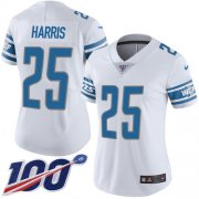 Wholesale Cheap Nike Lions #25 Will Harris White Women's Stitched NFL 100th Season Vapor Untouchable Limited Jersey