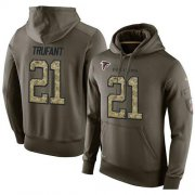 Wholesale Cheap NFL Men's Nike Atlanta Falcons #21 Desmond Trufant Stitched Green Olive Salute To Service KO Performance Hoodie