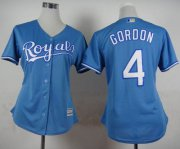 Wholesale Cheap Royals #4 Alex Gordon Light Blue Alternate 1 Women's Stitched MLB Jersey