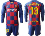 Wholesale Cheap Barcelona #13 Cillessen Home Long Sleeves Soccer Club Jersey
