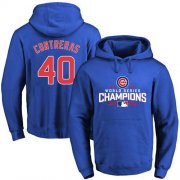 Wholesale Cheap Cubs #40 Willson Contreras Blue 2016 World Series Champions Pullover MLB Hoodie