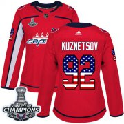 Wholesale Cheap Adidas Capitals #92 Evgeny Kuznetsov Red Home Authentic USA Flag Stanley Cup Final Champions Women's Stitched NHL Jersey