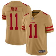 Wholesale Cheap Nike 49ers #11 Brandon Aiyuk Gold Men's Stitched NFL Limited Inverted Legend Jersey