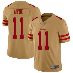 Wholesale Cheap Nike 49ers #11 Brandon Aiyuk Gold Men\'s Stitched NFL Limited Inverted Legend Jersey