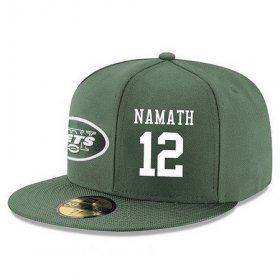 Wholesale Cheap New York Jets #12 Joe Namath Snapback Cap NFL Player Green with White Number Stitched Hat