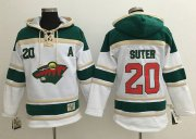 Wholesale Cheap Wild #20 Ryan Suter White Sawyer Hooded Sweatshirt Stitched NHL Jersey