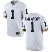 Wholesale Cheap Men's Michigan Wolverines #1 Ann Arbor White Stitched College Football Brand Jordan NCAA Jersey