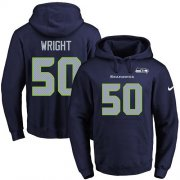 Wholesale Cheap Nike Seahawks #50 K.J. Wright Navy Blue Name & Number Pullover NFL Hoodie