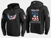 Wholesale Cheap Capitals #31 Philipp Grubauer NHL Banner Wave Usa Flag Black Hoodie